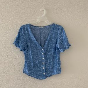 Bershka Blue and White Polka Dot Blouse